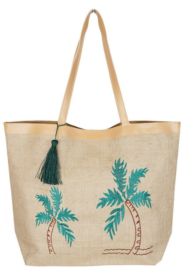 Large Jute Beach Bag - Palm Tree