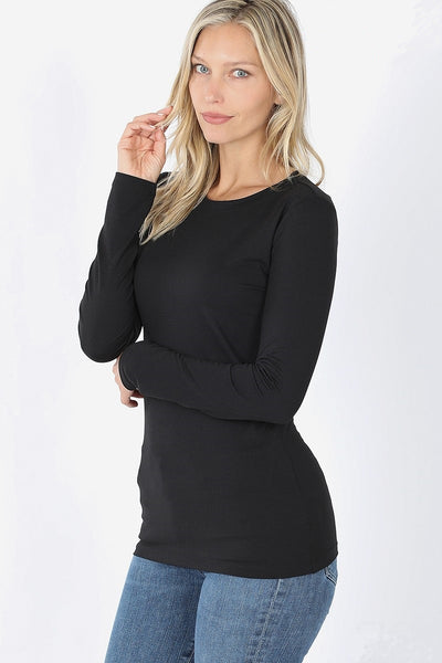 Microfiber Round Neck Top - Black - LilloBellaBoutique.com