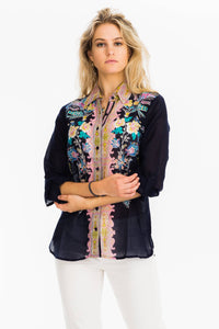 Floral Printed Button-Down Shirt - Navy