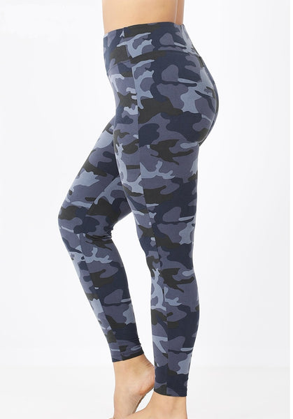 Microfiber Camo Legging - Navy - LilloBellaBoutique.com