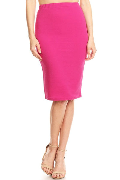Classic Solid Colour Pencil Skirt - Magenta