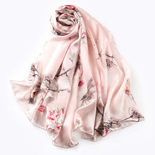 Load image into Gallery viewer, Artisan Crafted Silk Charmeuse Scarf - Serene Garden