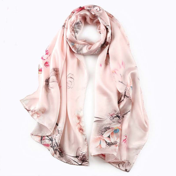Artisan Crafted Silk Charmeuse Scarf - Serene Garden - LilloBellaBoutique.com