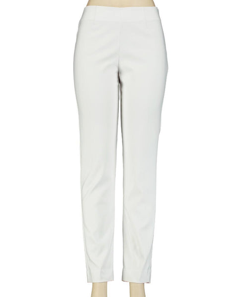 Flat Front Comfort Fit Pull On Pant - White