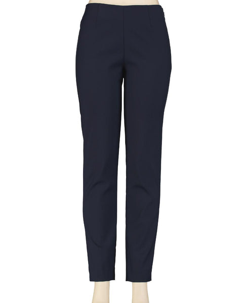 Flat Front Comfort Fit Pull On Pant - Navy