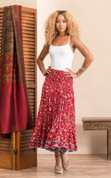 Macarena Skirt Long - Wildflower Red - LilloBellaBoutique.com