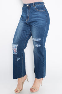 Patchwork Floral Jeans- Plus