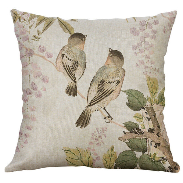 Cotton Linen Pillow Case 16 x 16 set of 2 - Perched Birds