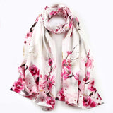 Artisan Crafted Silk Charmeuse Scarf - Pink Fowers