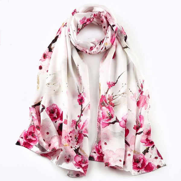 Artisan Crafted Silk Charmeuse Scarf - Pink Fowers - LilloBellaBoutique.com