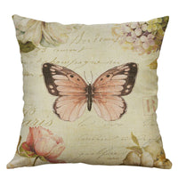 Cotton Linen Pillow Case 18 x 18 set of 2 - Pink Butterfly