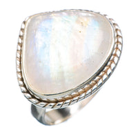 Rainbow Moonstone Sterling Silver Ring - Size 7