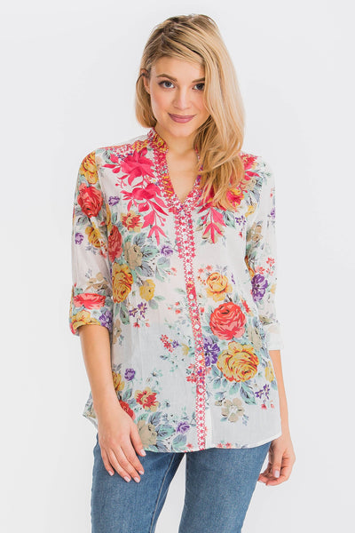 Floral Printed Button-Down Tunic with Dark Pink Embroidery - LilloBellaBoutique.com