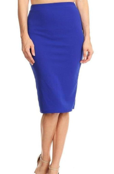 Classic Solid Colour Pencil Skirt - Royal