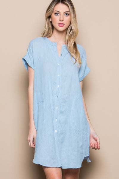 Subtle Charm Tunic Top - Sky Blue.