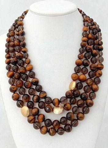Multi Strand Tiger Eye Statement Necklace