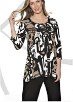 Compli K Mocca Print Tunic Top - LilloBellaBoutique.com