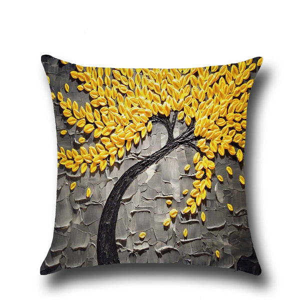 Cotton Linen Pillow Case 16 x 16 set of 2 - Grey With Yellow Leaves