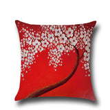 Cotton Linen Pillow Case 16 x 16 set of 2 - Red With White Flower - LilloBellaBoutique.com