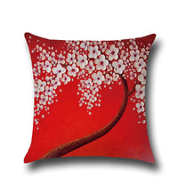 Cotton Linen Pillow Case 16 x 16 set of 2 - Red With White Flower
