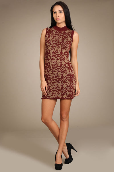 M. Rena Jacquard Mock Neck Dress - Deep Red