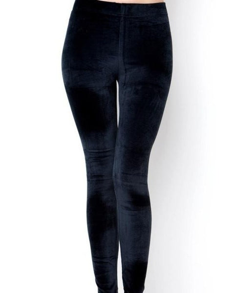 Ultra Soft Stretch Velvet Legging - Navy - LilloBellaBoutique.com