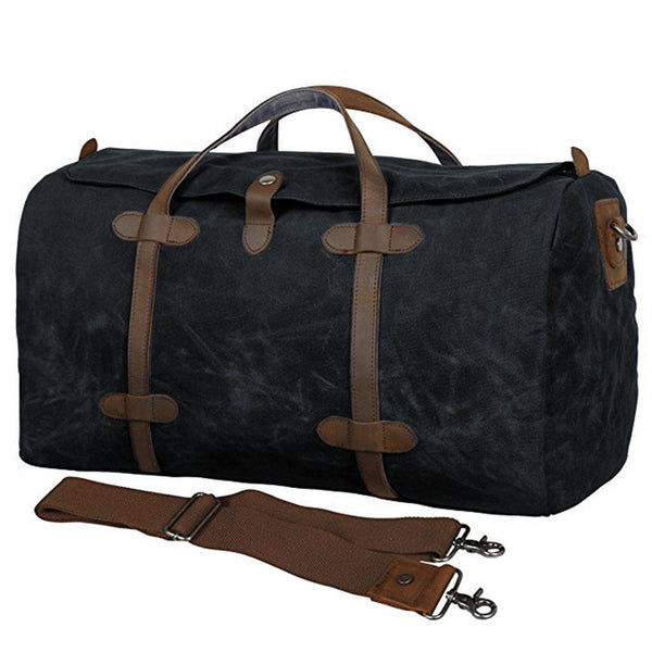 Waxed Waterproof Weekender Duffle Bag - Black