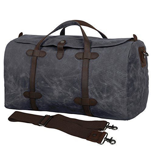 Waxed Waterproof Weekender Duffle Bag - Grey