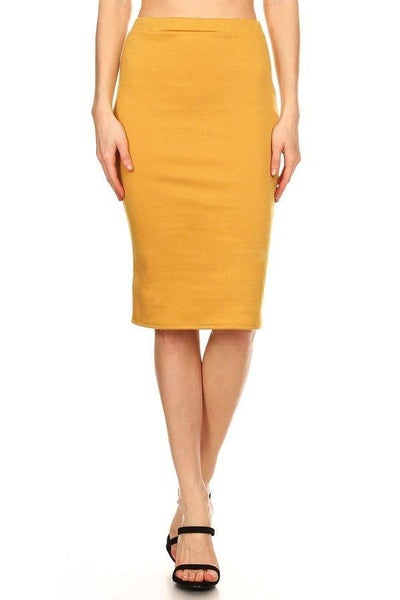 Classic Solid Colour Pencil Skirt - Mustard