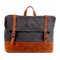 Retro Canvas And Leather Messenger Bag - Grey