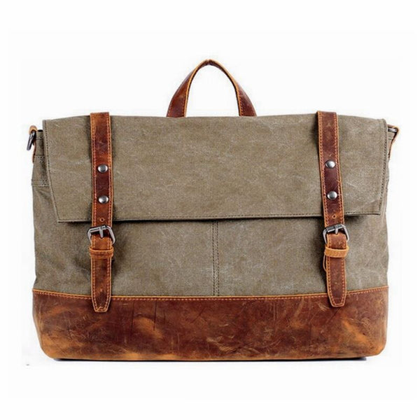 Retro Canvas And Leather Messenger Bag - Khaki Green