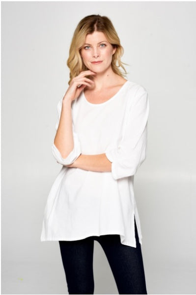 Ruched Sleeve Cotton Top - White