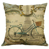 Cotton Linen Pillow Case 18 x 18 set of 2 - Bicycle