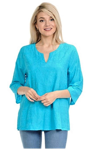 Focus Fashion Split Neck Cotton Top - Turquoise - LilloBellaBoutique.com
