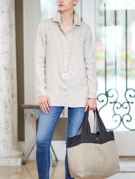 Cameron Button Down Linen Shirt - Flax - LilloBellaBoutique.com