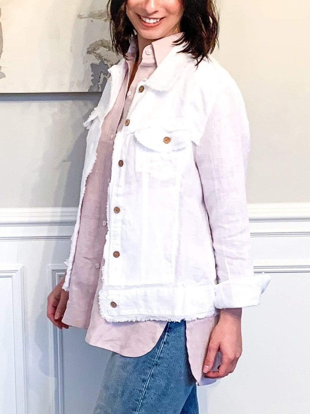 Cameron Button Down Linen Shirt - Dusty Pink