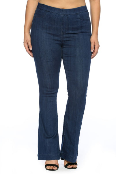 Curvy Dark Denim Flared Pull On Jeans - LilloBellaBoutique.com