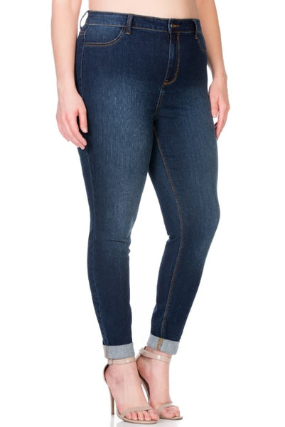 Curvy Dark Wash Skinny Jeans - LilloBellaBoutique.com