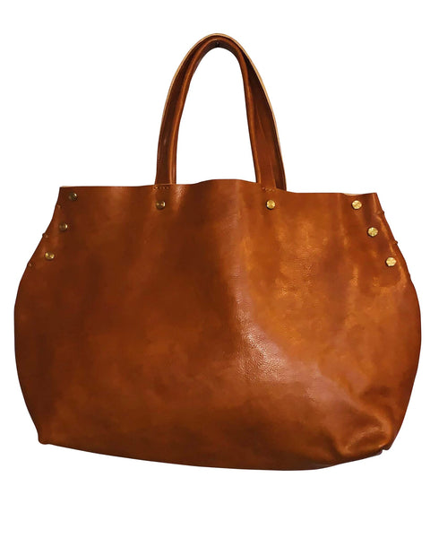 Stud Trimmed Large Leather Tote Bag - Chestnut - LilloBellaBoutique.com