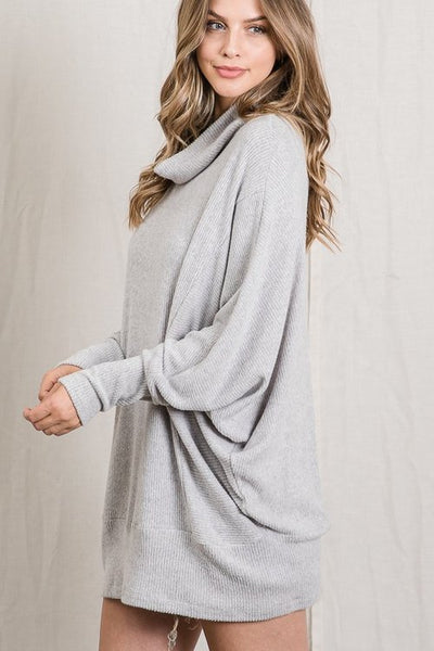 Hope Cowl Neck Tunic Tops - Heather Grey - LilloBellaBoutique.com