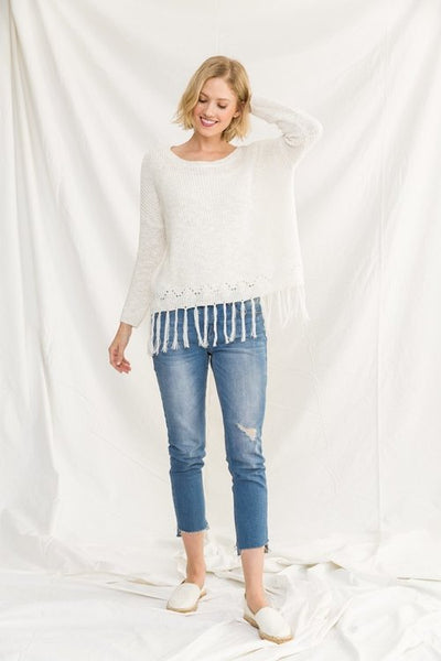 Perfectly Fringed Sweater Top