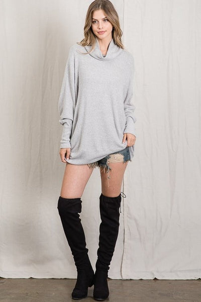 No Regret Cowl Neck Tunic Top - Heather Grey - LilloBellaBoutique.com
