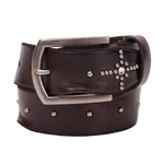Bed Stu Diamond Cross Leather Belt Dark Brown