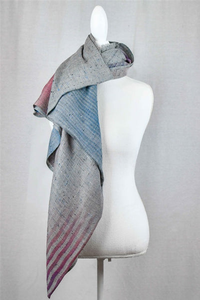 Abstract Print Wool & Silk Wrap - Grey Multi - LilloBellaBoutique.com