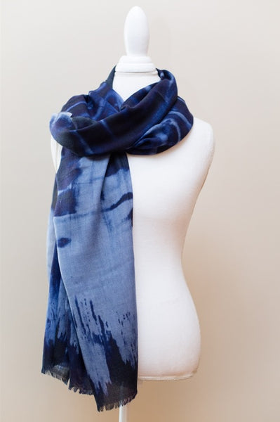 Luxe Blue Cashmere & Silk Abstract Print Wrap