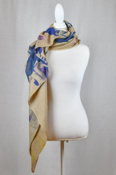 Luxe Silk & Wool Bohemian Blue Rose Print Wrap