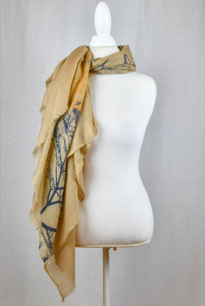 Luxe Silk & Wool Woods Print Wrap