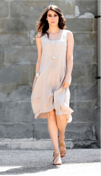 Luca Vanucci Sleeveless Linen Dress - LilloBellaBoutique.com