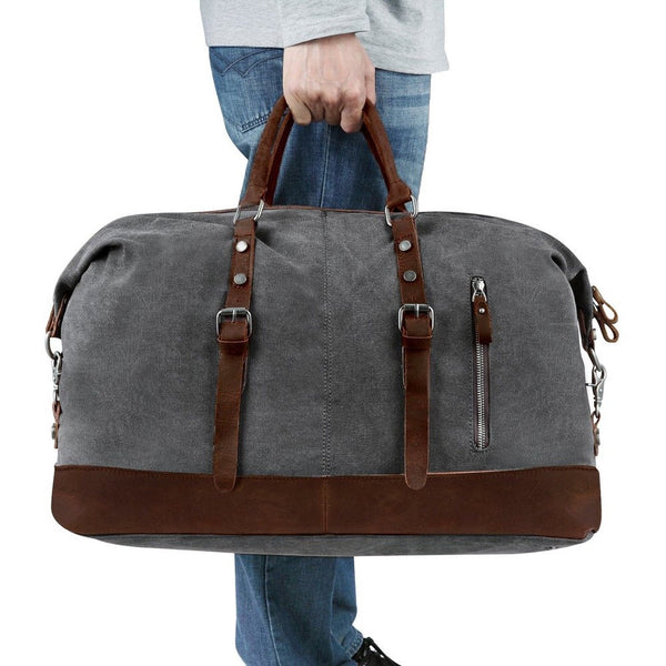 Large Retro Canvas And Leather Duffle Travel Bag - Grey - LilloBellaBoutique.com