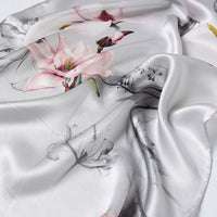 Artisan Crafted Silk Charmeuse Scarf - Flowers In Snow